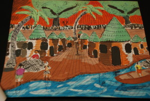 """Fishing Village"" submitted by Emmanuella Owusuwah, student at Ahmadiuah Senior High School, Kumasi Ghana"